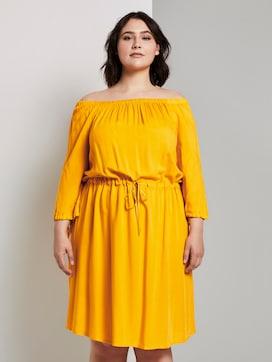 Schulterfreies Midi-Kleid mit verstellbarem Bund (gelb ...