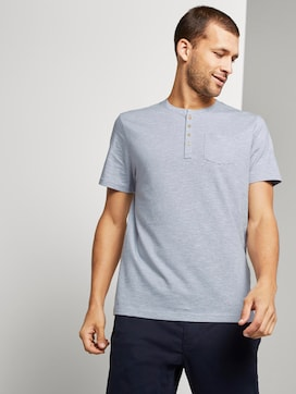 Striped T-shirt with a Henley neckline - 5 - TOM TAILOR