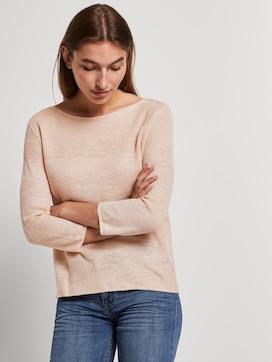Pullover mit Streifenstruktur aus Leinengemisch - 5 - TOM TAILOR