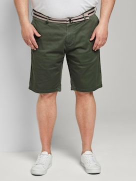Patterned Bermuda shorts with a belt - 1 - Men Plus