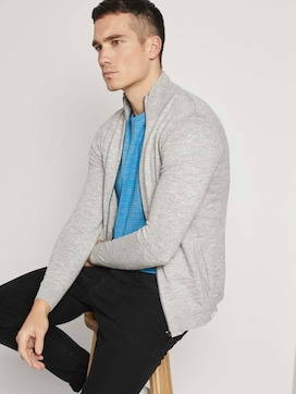 Mottled cardigan with a stand-up collar made with recycled polyester   - 5 - TOM TAILOR