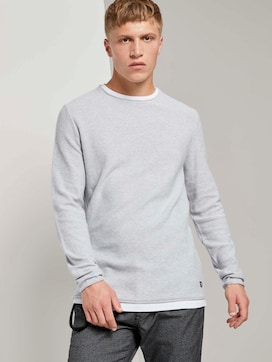 Strukturierter Pullover mit Underlayer - 5 - TOM TAILOR Denim