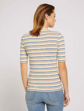 Gestreiftes T-Shirt mit kurzem Stehkragen - 2 - TOM TAILOR Denim