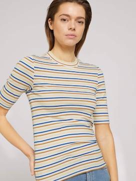 Gestreiftes T-Shirt mit kurzem Stehkragen - 5 - TOM TAILOR Denim
