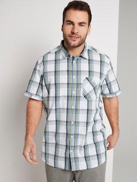 Checked short-sleeved shirt - 5 - Men Plus