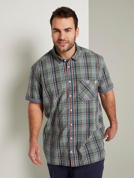 Checked short-sleeved shirt - 5 - Men Plus
