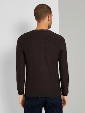 Basic Pullover mit Streifenstruktur - 2 - TOM TAILOR