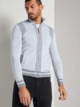 Melierte Strickjacke mit Stehkragen - 5 - TOM TAILOR