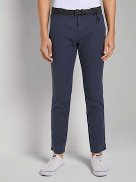 Textured chinos with a belt - 1 - TOM TAILOR Denim