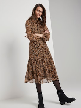 Patterned midi dress with flounce - 5 - TOM TAILOR