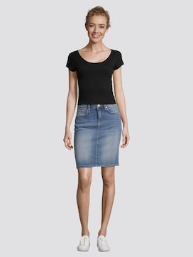 Over-knee denim skirt - 3 - TOM TAILOR