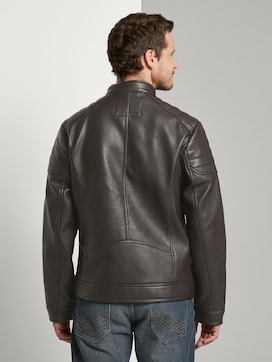 Faux leather biker jacket with a stand-up collar - 2 - TOM TAILOR