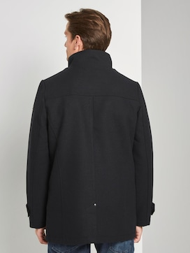 Wool coat with a knitted collar - 2 - TOM TAILOR