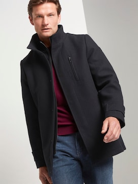 Wool coat with a knitted collar - 5 - TOM TAILOR