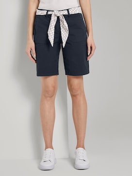 Chino relaxed Bermuda shorts with a tie belt - 1 - TOM TAILOR
