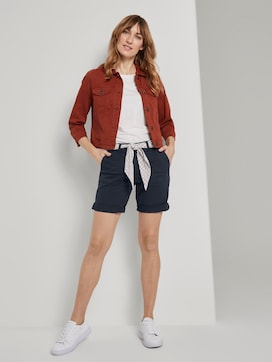Chino relaxed Bermuda shorts with a tie belt - 3 - TOM TAILOR