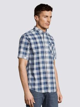Indigo check short-sleeved shirt - 5 - TOM TAILOR