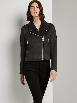 Suede biker jacket with a teddy collar - 5 - TOM TAILOR Denim