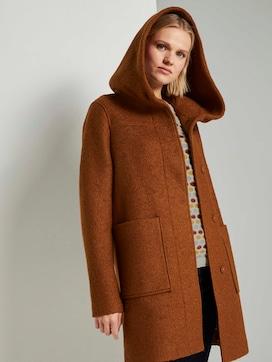 Bouclé jas met brede hoodie - 5 - TOM TAILOR Denim