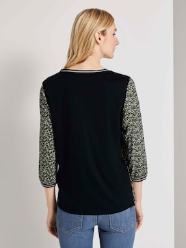 Overhemd met rib details in een materiaalmix - 2 - TOM TAILOR