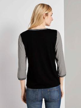Shirt mit Ripp-Details im Materialmix - 2 - TOM TAILOR