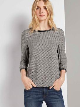 Shirt mit Ripp-Details im Materialmix - 5 - TOM TAILOR