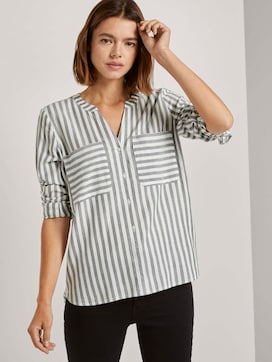Striped shirt blouse with chest pockets - 5 - TOM TAILOR Denim