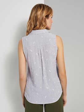 Sleeveless shirt blouse with embroidery - 2 - TOM TAILOR