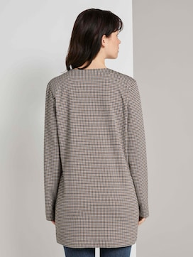 Collarless long blazer in a check pattern - 2 - TOM TAILOR