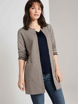 Collarless long blazer in a check pattern - 5 - TOM TAILOR