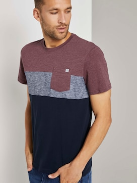 T-shirt with block stripes and chest pocket - 5 - TOM TAILOR
