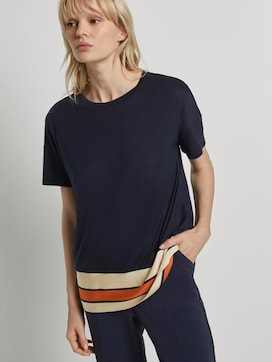 T-shirt with a striped hem - 5 - Tom Tailor E-Shop Kollektion