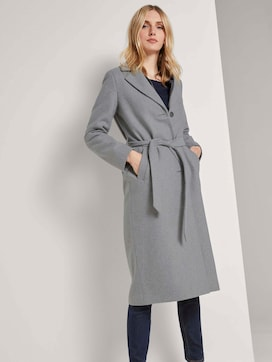 Long coat with a tie belt - 5 - TOM TAILOR