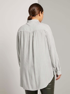 Striped long blouse with turn-ups - 2 - My True Me