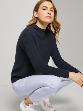 Ribbed jumper with a stand-up collar - 5 - TOM TAILOR