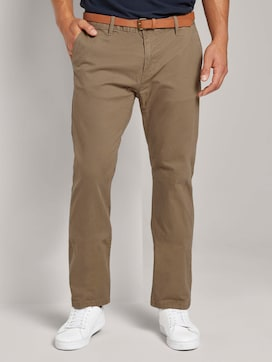 Gemusterte Travis Regular Chino Hose mit Gürtel - 1 - TOM TAILOR