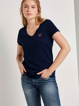 T-shirt with small embroidery - 5 - TOM TAILOR Denim