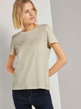 Printed T-shirt with stripes - 5 - TOM TAILOR Denim