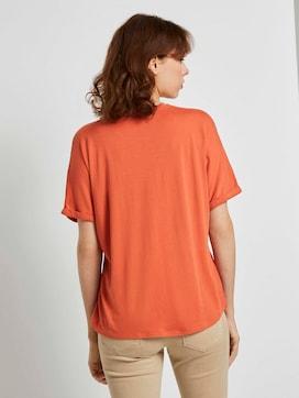 Crêpe T-Shirt im Materialmix - 2 - TOM TAILOR Denim