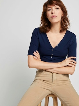 Henley shirt in a ribbed look - 5 - TOM TAILOR Denim