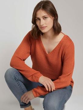 Strukturierter Pullover mit V-Ausschnitt - 5 - TOM TAILOR Denim