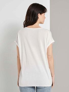 T-shirt in een mix van materialen - 2 - TOM TAILOR