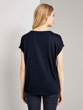 T-shirt in a mix of materials - 2 - TOM TAILOR