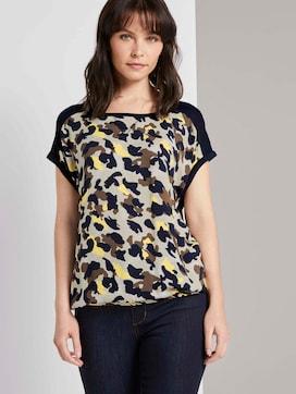 T-shirt in een mix van materialen - 5 - TOM TAILOR