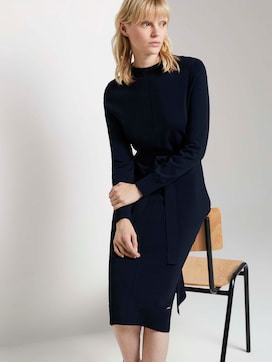 Midi Knit Jurk met Tie Ceintuur - 5 - Mine to five