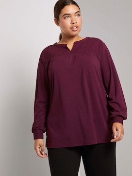 Playful blouse top with a textured insert - 5 - My True Me