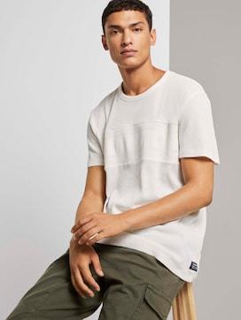 T-Shirt mit Rippeinsatz - 5 - TOM TAILOR Denim