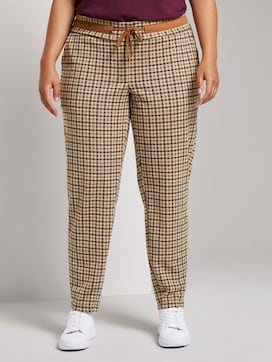 Checked fabric trousers with an elastic waistband - 1 - Tom Tailor E-Shop Kollektion