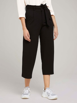 Culotte pleated trousers with a tie belt - 1 - TOM TAILOR Denim