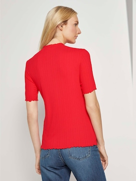 Ribbed T-shirt with a stand-up collar - 2 - TOM TAILOR